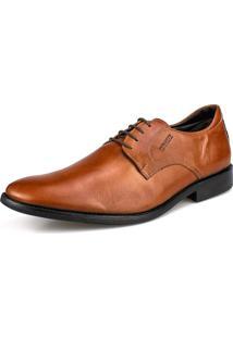 Sapato Social Couro Amarração Confort Tan Perlatto Caramelo