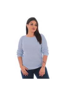 Blusa Básica Feminina De Lã Azul