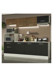 Cozinha Completa Madesa Onix 240002 Com Armário E Balcáo - Branco/Preto/Rustic 09D8 Branco