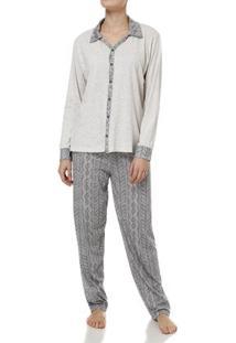 Pijama Longo Feminino Bege/Marrom