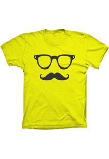 Camiseta Lu Geek Manga Curta Mustache Amarelo