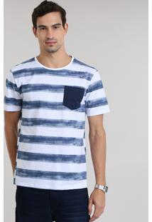 Camiseta Listrada De Algodão + Sustentável Branca