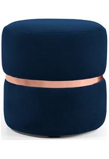 Puff Decorativo Com Cinto Rosê Round B-304 Veludo Azul Marinho - Domi