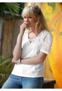 Blusa Strappy Com Renda Branco