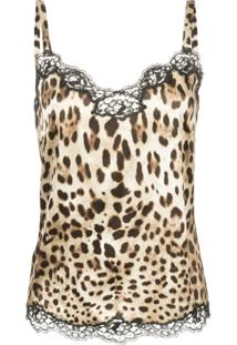 Dolce & Gabbana Blusa Animal Print Com Renda - Neutro