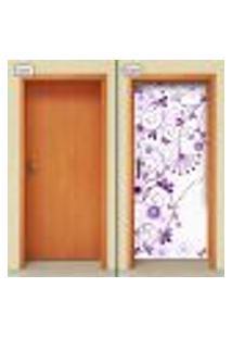 Adesivo Decorativo De Porta - Floral - 1377Cnpt