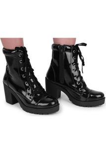 Bota Tratorada Cr Shoes Cano Médio Salto Verniz Feminina - Feminino-Preto
