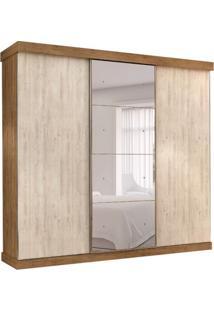 Guarda-Roupa Casal Com Espelho Alasca 3 Pt 6 Gv Bege E Ipê
