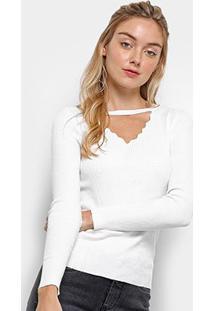Suéter Tricot Pérola Chocker Feminino - Feminino-Branco