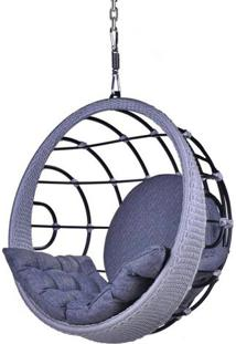 Poltrona De Balanco Bowl Em Aluminio Revestido Em Corda Cor Azul Com Suporte De Teto - 45324 - Sun House