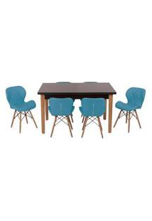 Conjunto Mesa De Jantar Luiza 135Cm Preta Com 6 Cadeiras Slim - Turquesa