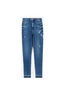 Calça Skinny Jeans Com Puídos E Costura Colorida No Passante
