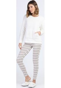 Pijama De Plush Feminino Com Bolso E Listras Manga Longa Off White