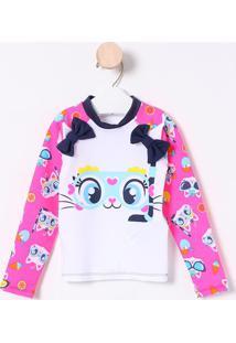Camiseta Gatinha Com Laços- Branca & Rosa- Puketpuket
