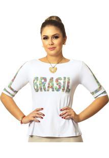 Blusa Ficalinda Meia Manga Estampa Exclusiva Copa Brasil 10 Evas㪠- Branco - Feminino - Elastano - Dafiti
