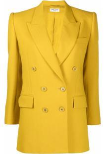 Saint Laurent Blazer Com Abotoamento Duplo De Lã - Amarelo