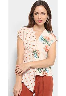 Blusa Assimétrica Jin Floral Feminina - Feminino-Bege
