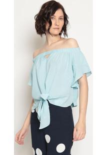 Blusa Ombro A Ombro Com Amarraã§Ã£O - Azul Claro - Opeoperate