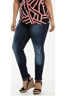 Calça Jeans Puídos Skinny Feminina Plus Size Biotipo
