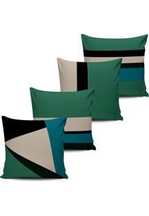 Kit 4 Capas Almofadas Geometrica Verde E Bege 45X45Cm - Multicolorido - Dafiti