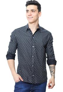 Camisa Slim Victor Deniro Preto Ancorini