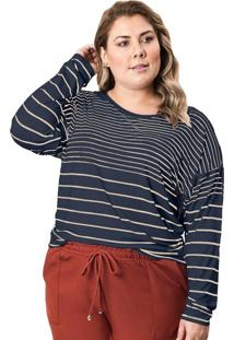 Blusa Feminina Plus Size Formitz Listrada Marinho/Nude - M