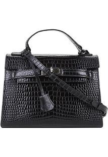 Bolsa Couro Capodarte Handbag Croco Feminina - Feminino-Preto