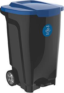Lixeira Em Plastico T-Force Preto E Azul 100 Litros Com Rodas Tramontina 92815/709