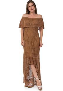 Vestido de tricot longo com fenda