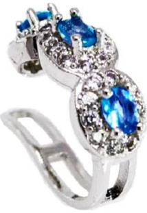 Brinco Piercing Cristal London Blue Cravejado Cristais Banhado A Ródio Branco - Kanui