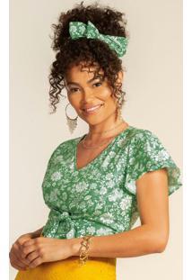 Blusa Com Estampa Floral E Amarração Verde