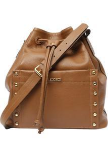 Bolsa Saco Em Couro Com Bolso- Caramelo- 31X39X14Cm
