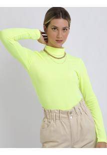 Blusa Feminina Canelada Gola Alta Manga Longa Amarelo Neon