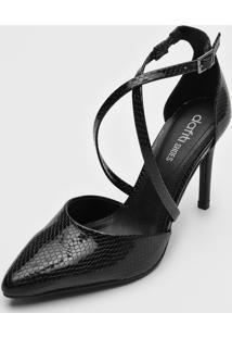 Scarpin Dafiti Shoes Tiras Preto - Preto - Feminino - Dafiti
