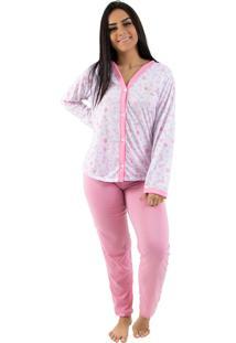 Pijama Linha Noite Longo Goiaba Flores Rosa