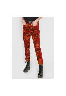 Calça Sarja 2Nd Floor Skinny Camouflage Vermelha/Caramelo