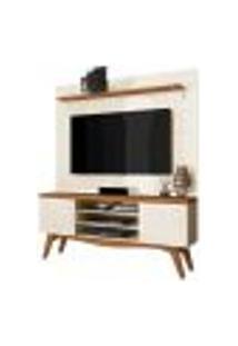 Rack Bancada Lis 02 Portas Com Painel Para Tv Win New Sala De Estar Off White/Coral - Frade Movelaria