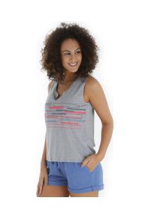 Camiseta Regata Oxer Gym - Feminina - Cinza