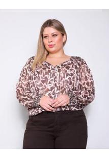 Camisa Plus Size Palank Luxuosa Feminina - Feminino-Marrom