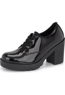 Bota Tratorada Cano Baixo Cr Shoes Salto Verniz 1710 Preto