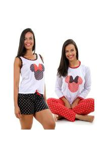 Pijama Isa Lingerie 1 Baby Doll + 1 Pijama Minnie Cor Sortida
