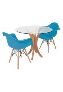 Conjunto Mesa De Jantar Tampo De Vidro 90Cm Com 2 Cadeiras Eiffel Com Braço - Turquesa