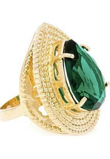 Anel Banho De Ouro Gota Com Cristal - Feminino-Verde