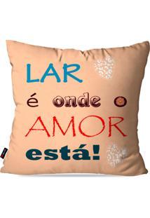 Capa De Almofada Pump Up Decorativa Avulsa Salmã£O Frases Lar Amor 45X45Cm - Laranja - Dafiti