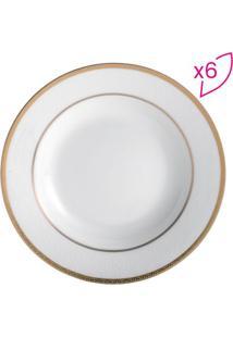 Jogo De Pratos De Sopa Em Porcelana Gold- Branco & Dourarojemac