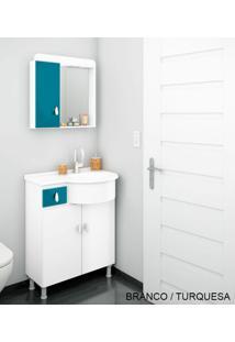 Gabinete Para Banheiro Kit Ks - Balcão + Espelheira + Marmorite - Branco Com Turquesa