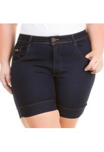 Shorts Jeans Plus Size Confidencial Acetinado Cintura Alta Feminino - Feminino-Azul