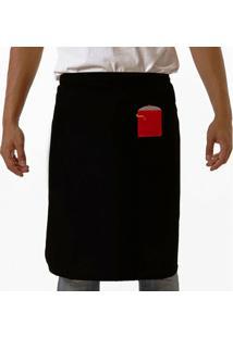 Avental Oitavo Ato De Cintura Bordado Pan - Feminino-Preto+Vermelho