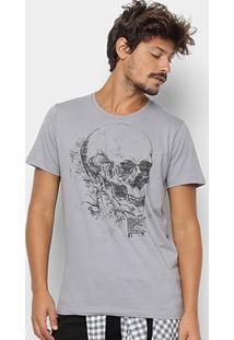 Camiseta Colcci Estampa Caveira Masculina - Masculino-Cinza