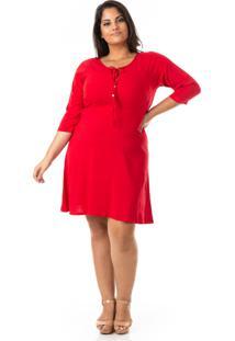 Vestido Evasê Em Linho Com Elastano Plus Size - Confidencial Extra - Kanui